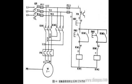 交流接触器连锁电动机正反转控制原理图分析